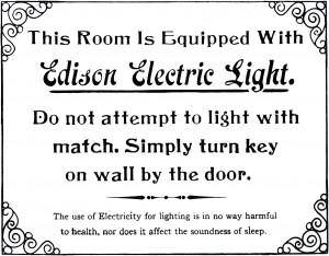Cartel explicando cómo funcionan las bombillas eléctricas