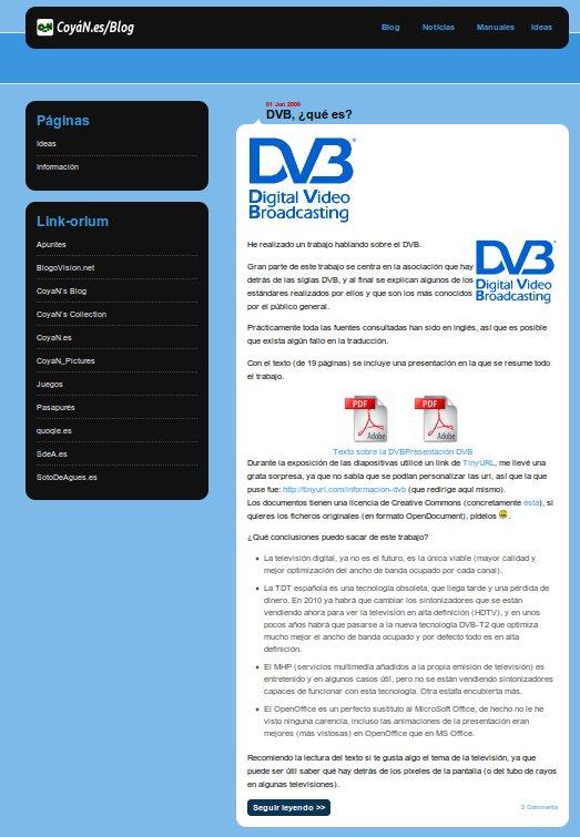 Captura de pantalla del segundo diseño de CoyaN.es/Blog
