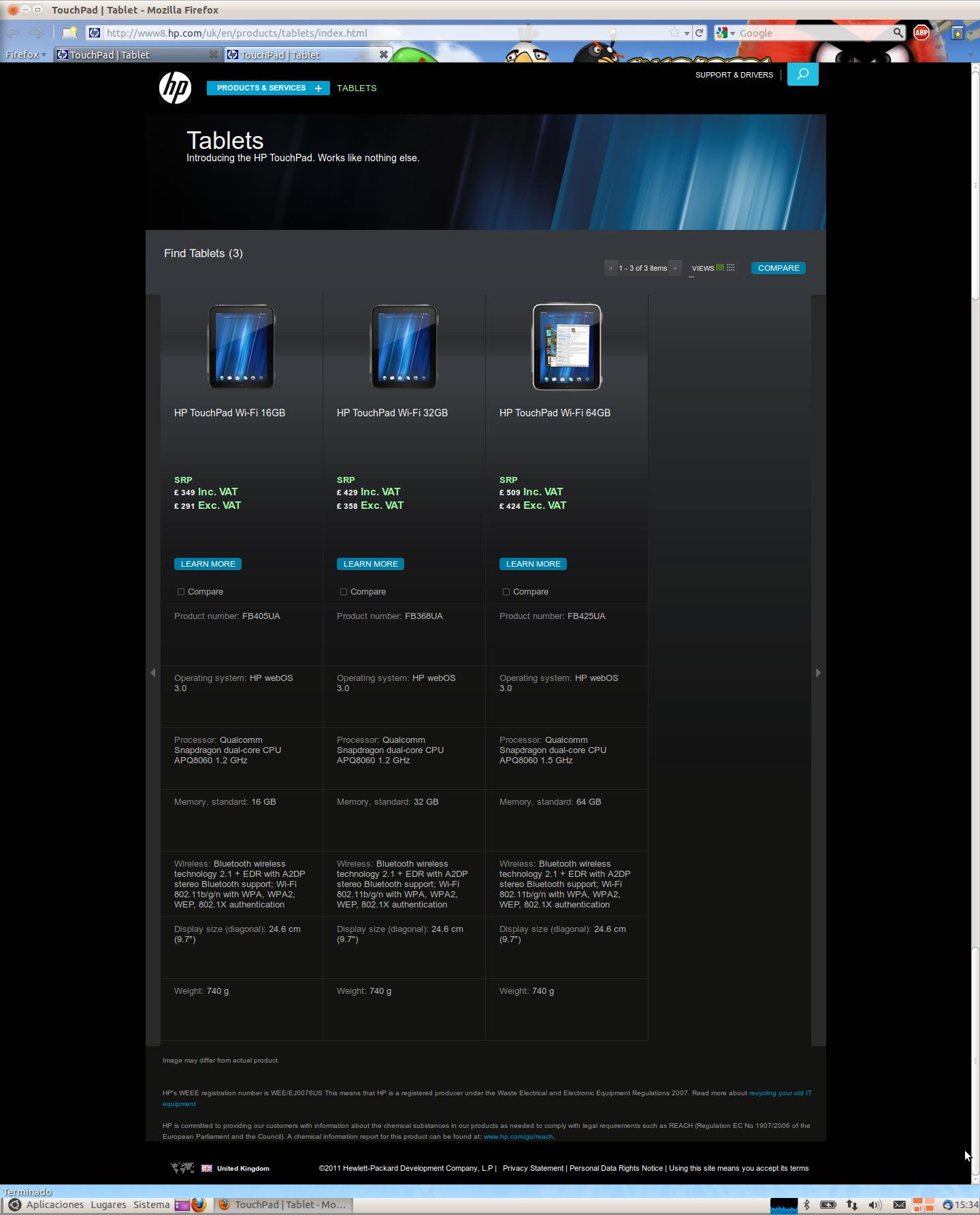 Captura de la tienda oficial con el TP de 64gb